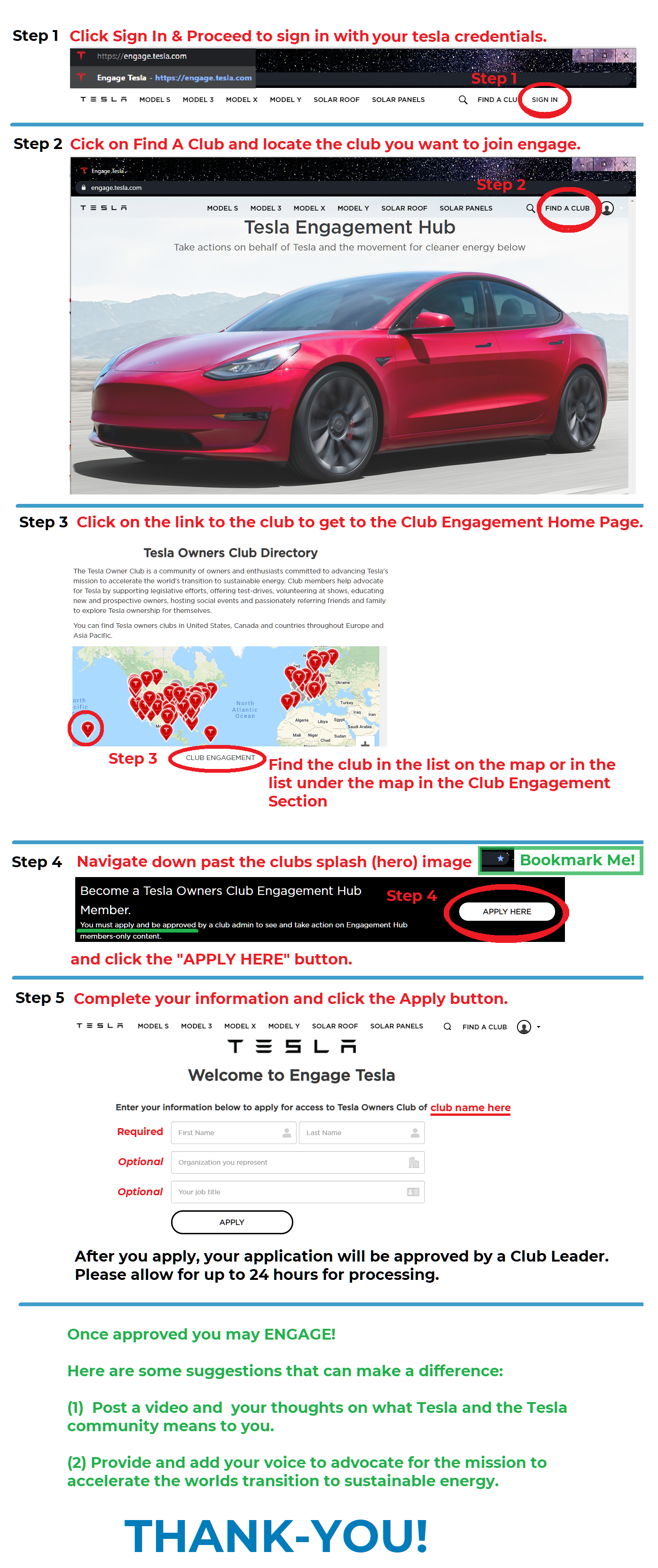 Join Tesla and our club's Engagement Hub in 5 steps (infographic)